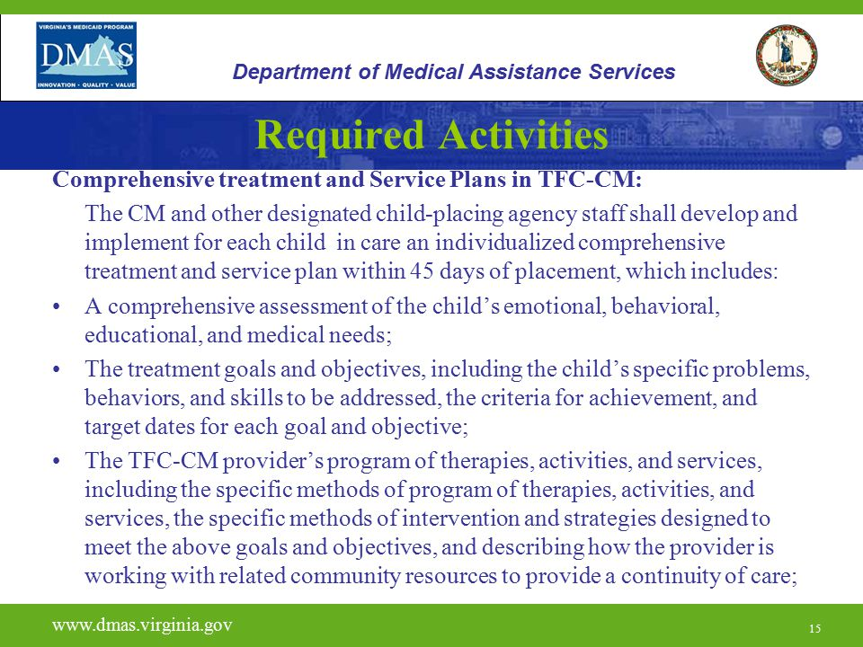 15 Required Activities Comprehensive treatment and Service Plans in TFC-CM: The CM and other designated child-placing agency staff shall develop and i