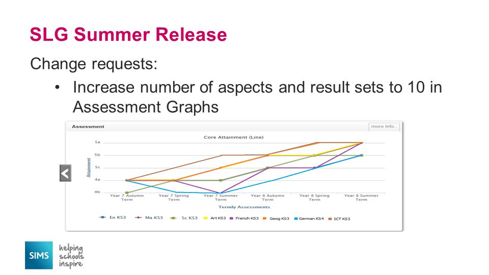 SLG Summer Release Change requests: Increase number of aspects and result sets to 10 in Assessment Graphs