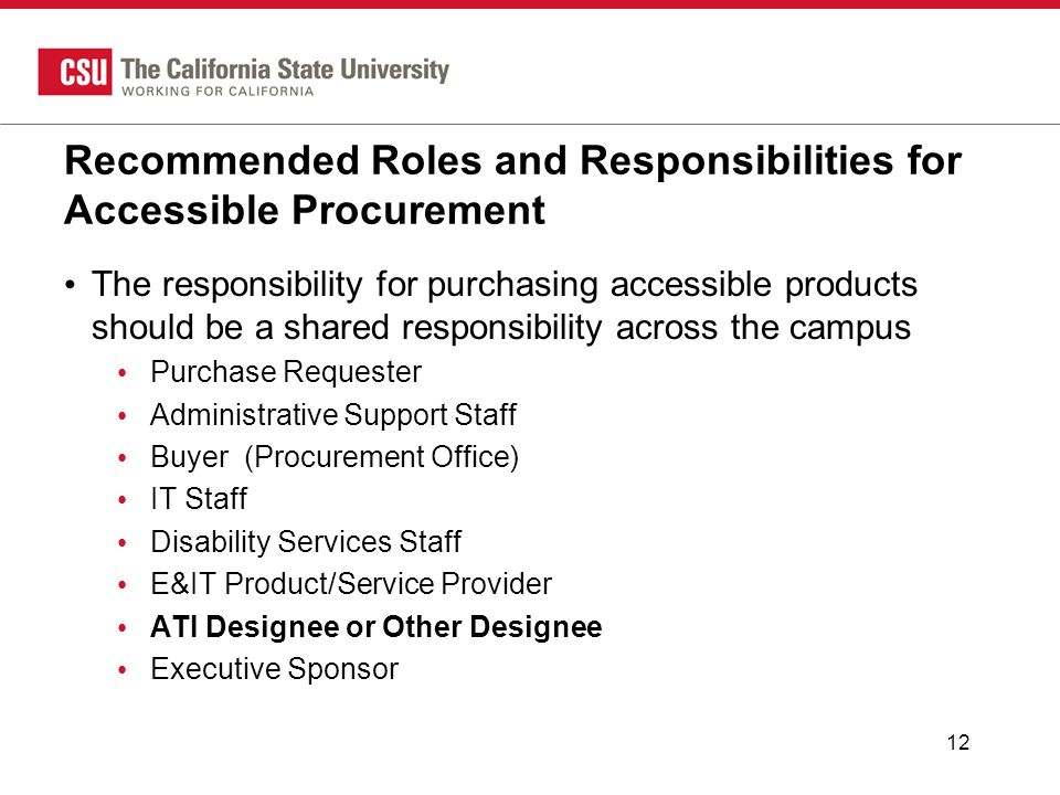 Recommended Roles and Responsibilities for Accessible Procurement The responsibility for purchasing accessible products should be a shared responsibility across the campus Purchase Requester Administrative Support Staff Buyer (Procurement Office) IT Staff Disability Services Staff E&IT Product/Service Provider ATI Designee or Other Designee Executive Sponsor 12