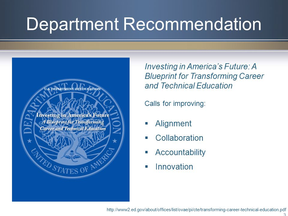 Department Recommendation http://www2.ed.gov/about/offices/list/ovae/pi/cte/transforming-career-technical-education.pdf 3 Investing in America's Future: A Blueprint for Transforming Career and Technical Education Calls for improving:  Alignment  Collaboration  Accountability  Innovation