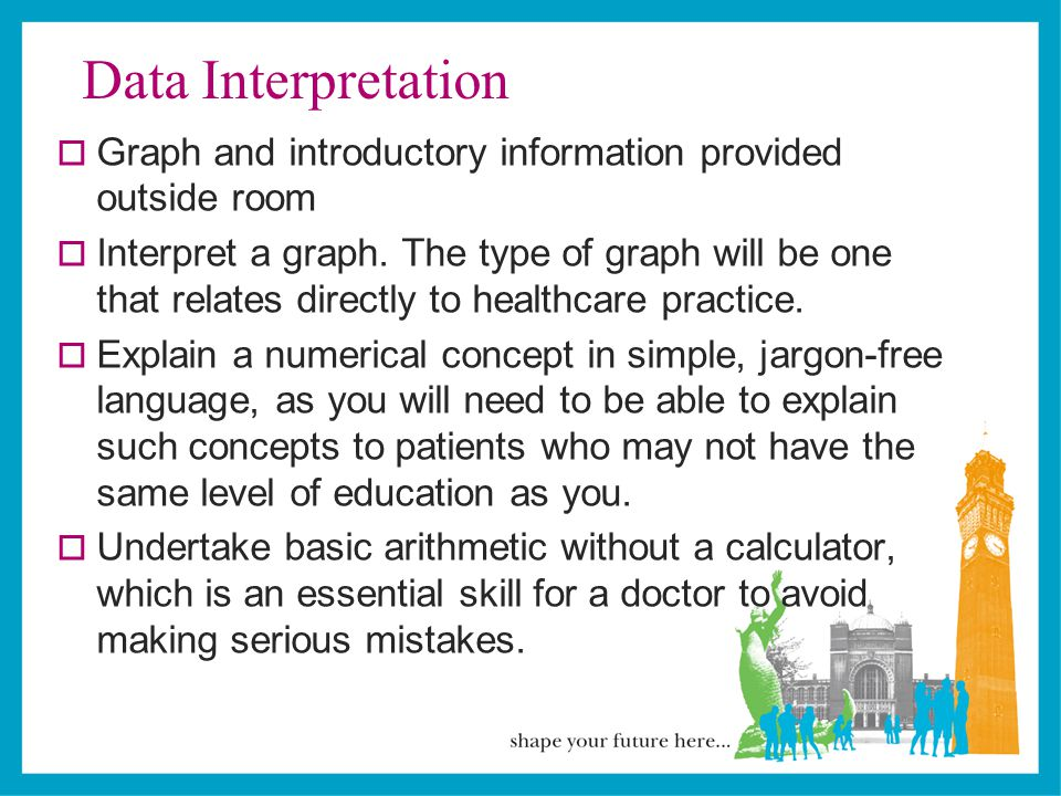 Data Interpretation  Graph and introductory information provided outside room  Interpret a graph.