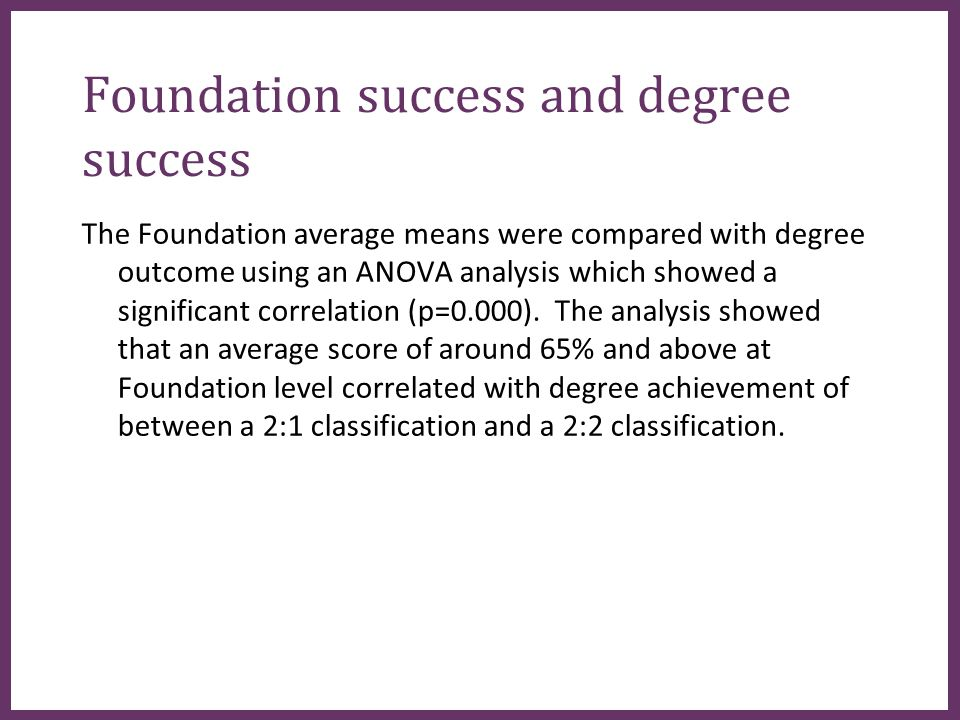 ∂ Foundation success and degree success The Foundation average means were compared with degree outcome using an ANOVA analysis which showed a significant correlation (p=0.000).