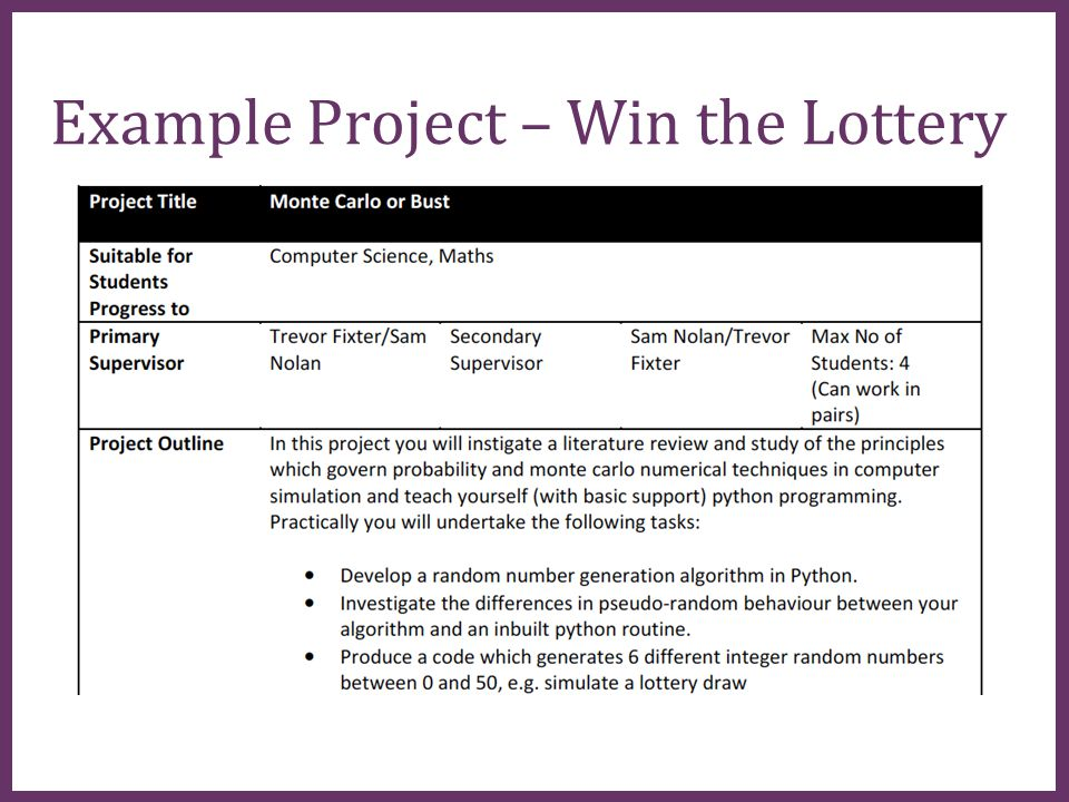 ∂ Example Project – Win the Lottery