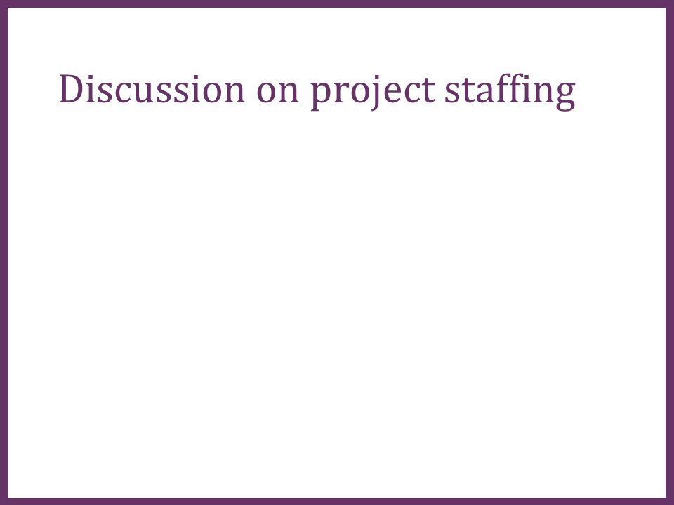 ∂ Discussion on project staffing