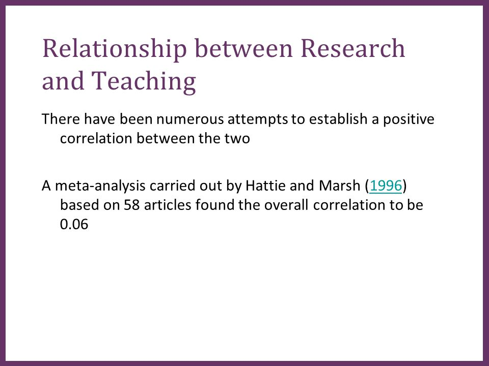 ∂ Relationship between Research and Teaching There have been numerous attempts to establish a positive correlation between the two A meta-analysis carried out by Hattie and Marsh (1996) based on 58 articles found the overall correlation to be 0.061996
