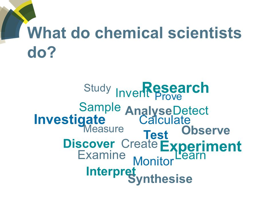 I'm a chemical scientist -An example of a typical day -The best thing about your job -A problem you have solved -An interesting project you have worked on You may like to include a photograph of yourself at work
