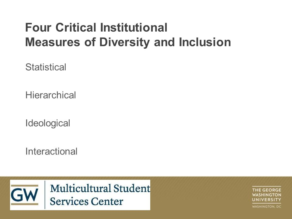 Statistical Hierarchical Ideological Interactional Four Critical Institutional Measures of Diversity and Inclusion