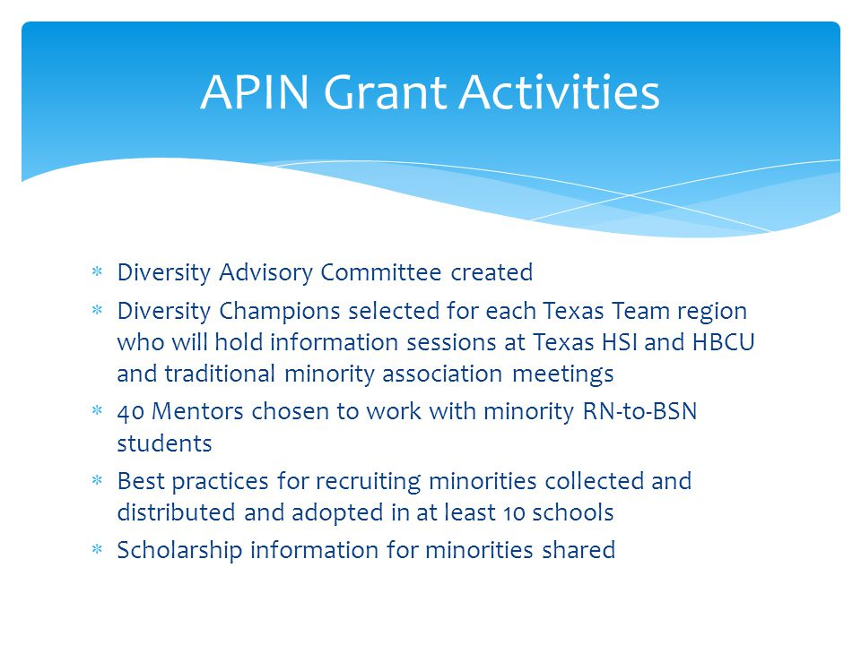  Diversity Advisory Committee created  Diversity Champions selected for each Texas Team region who will hold information sessions at Texas HSI and HBCU and traditional minority association meetings  40 Mentors chosen to work with minority RN-to-BSN students  Best practices for recruiting minorities collected and distributed and adopted in at least 10 schools  Scholarship information for minorities shared APIN Grant Activities