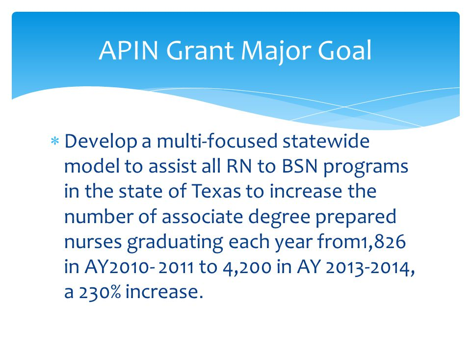  Develop a multi-focused statewide model to assist all RN to BSN programs in the state of Texas to increase the number of associate degree prepared nurses graduating each year from1,826 in AY2010- 2011 to 4,200 in AY 2013-2014, a 230% increase.