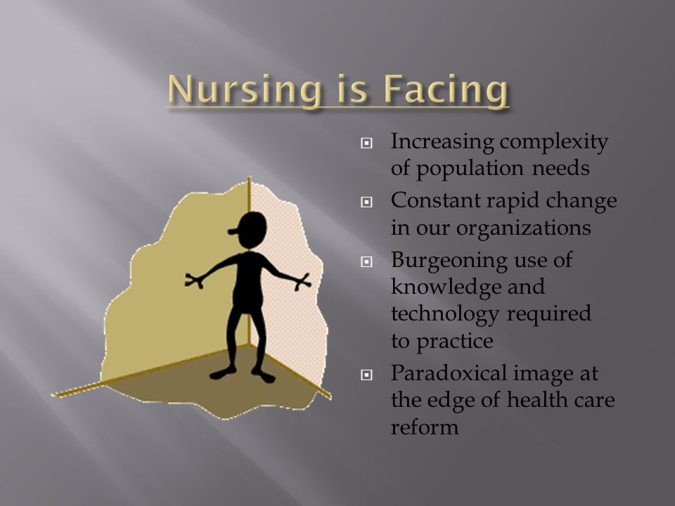  Essentially static nursing education system  Practice/Education Gap  Immobilized by disputes about levels of education  Uninformed by advances in science of learning  Clinical education approaches unchanged since the 1940's