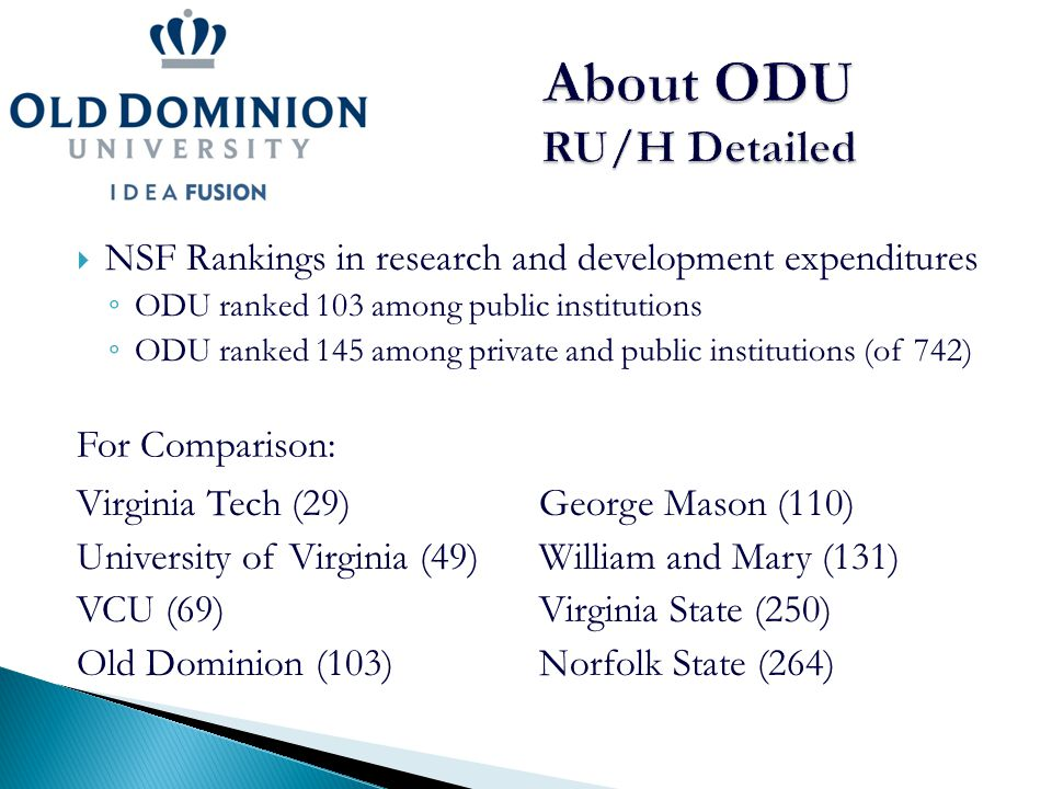  NSF Rankings in research and development expenditures ◦ ODU ranked 103 among public institutions ◦ ODU ranked 145 among private and public instituti