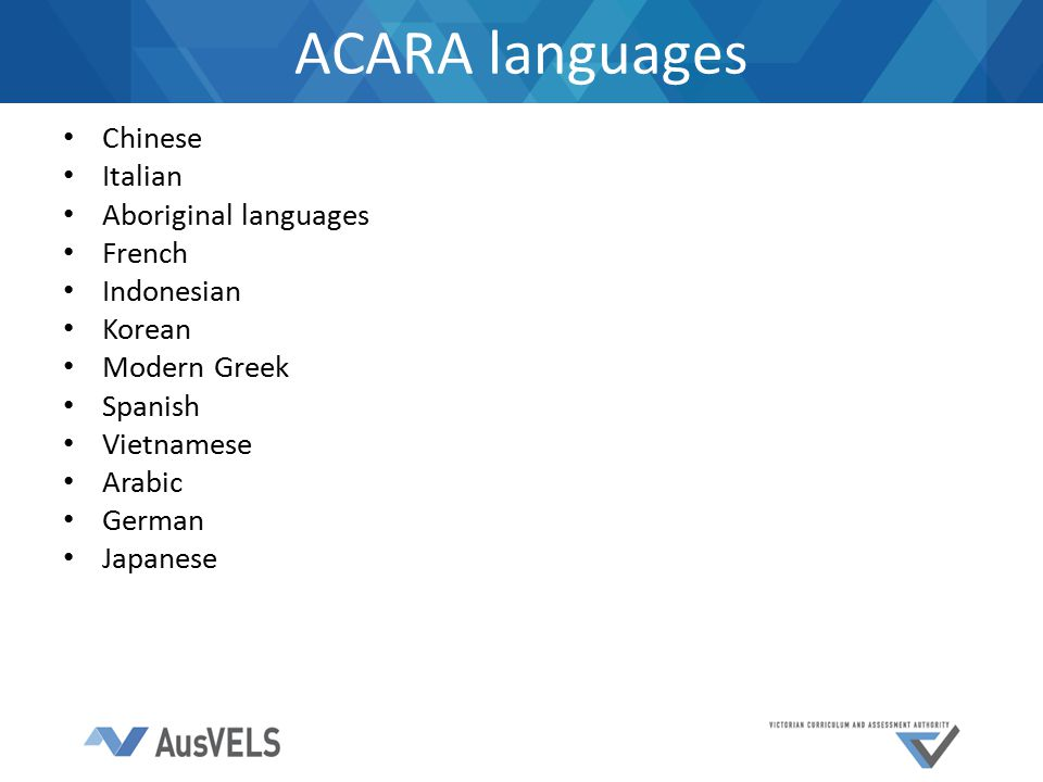 ACARA languages Chinese Italian Aboriginal languages French Indonesian Korean Modern Greek Spanish Vietnamese Arabic German Japanese