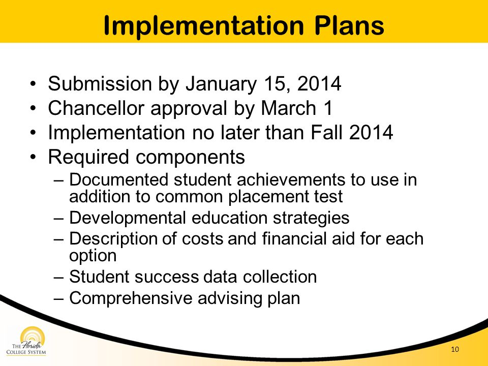 Implementation Plans Submission by January 15, 2014 Chancellor approval by March 1 Implementation no later than Fall 2014 Required components – Docume