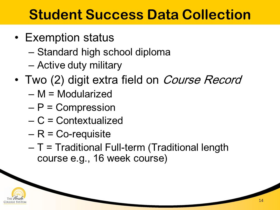 Student Success Data Collection Exemption status – Standard high school diploma – Active duty military Two (2) digit extra field on Course Record – M