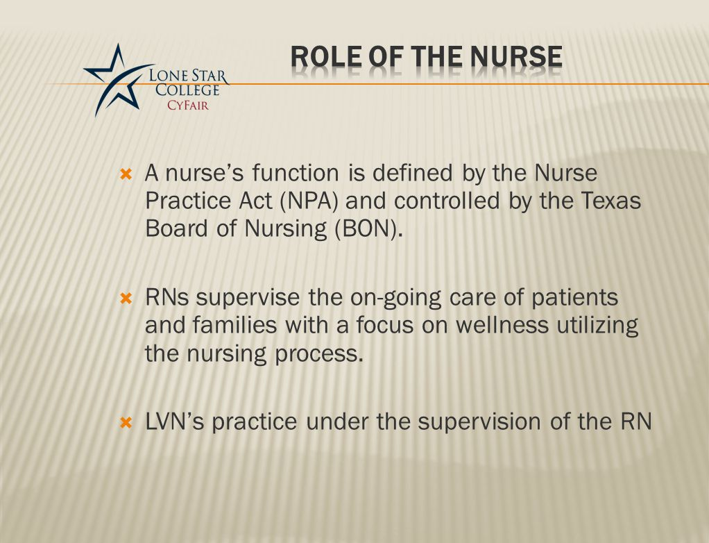  A nurse's function is defined by the Nurse Practice Act (NPA) and controlled by the Texas Board of Nursing (BON).