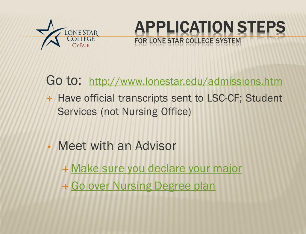Applications & information are found On Lone Star College System (LSCS) website http://www.lonestar.edu/nursing-requirements.htm or LSC-CF Nursing Program website http://www.lonestar.edu/nursingcyfair.htm