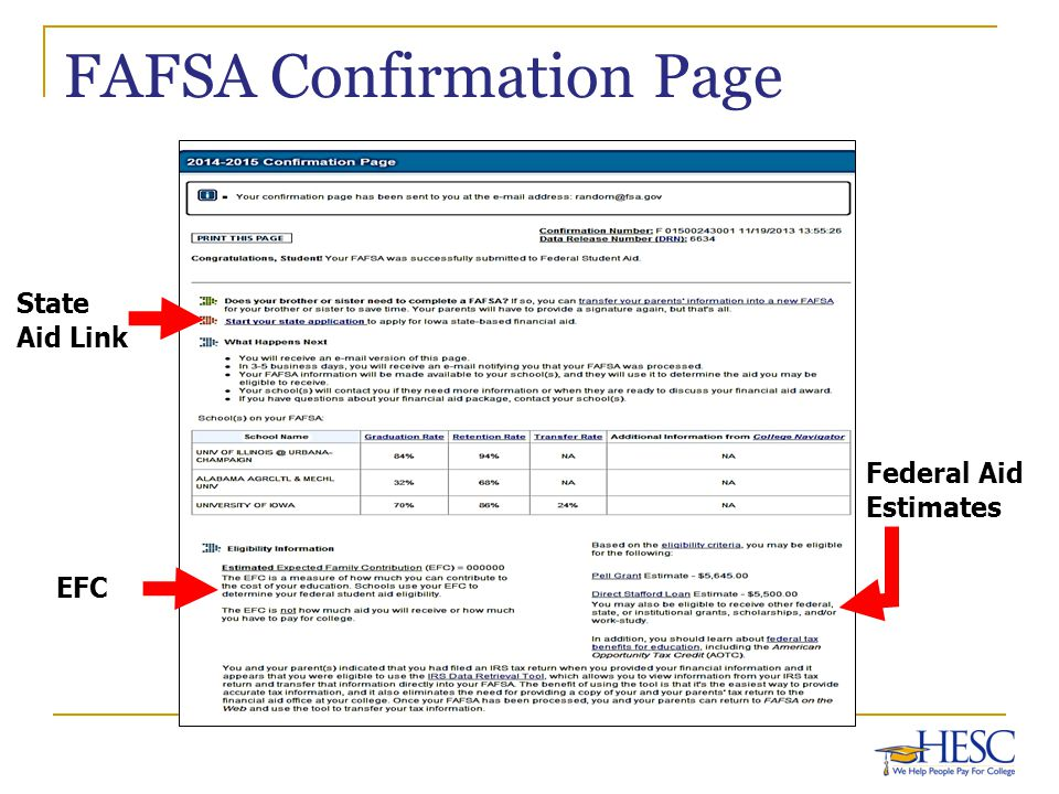 FAFSA Confirmation Page Federal Aid Estimates EFC State Aid Link