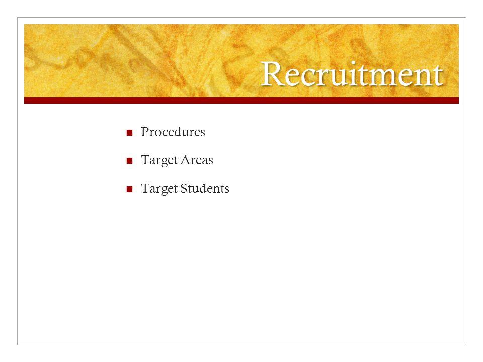 Recruitment Procedures Target Areas Target Students
