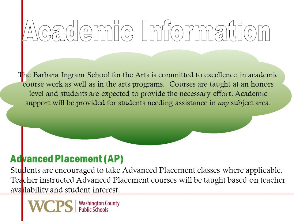 Advanced Placement (AP) Students are encouraged to take Advanced Placement classes where applicable.