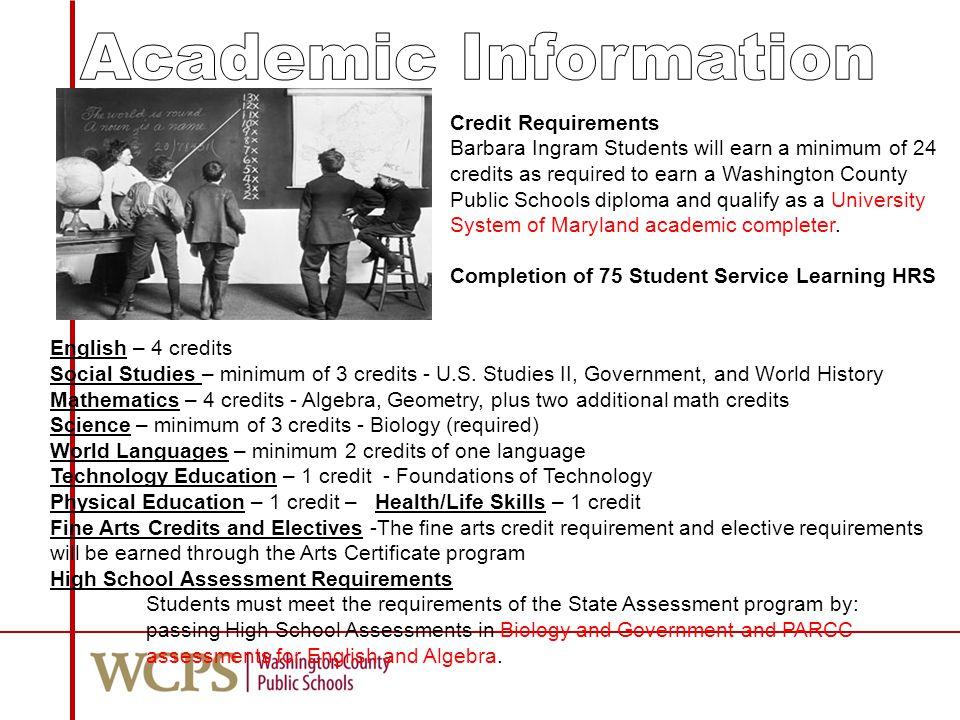 English – 4 credits Social Studies – minimum of 3 credits - U.S.