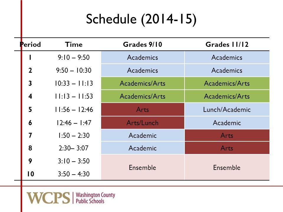 Schedule (2014-15) PeriodTimeGrades 9/10Grades 11/12 19:10 – 9:50Academics 29:50 – 10:30Academics 310:33 – 11:13Academics/Arts 411:13 – 11:53Academics/Arts 511:56 – 12:46ArtsLunch/Academic 612:46 – 1:47Arts/LunchAcademic 71:50 – 2:30AcademicArts 82:30– 3:07AcademicArts 93:10 – 3:50 Ensemble 103:50 – 4:30