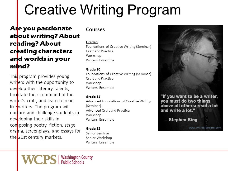 Creative Writing Program Are you passionate about writing.