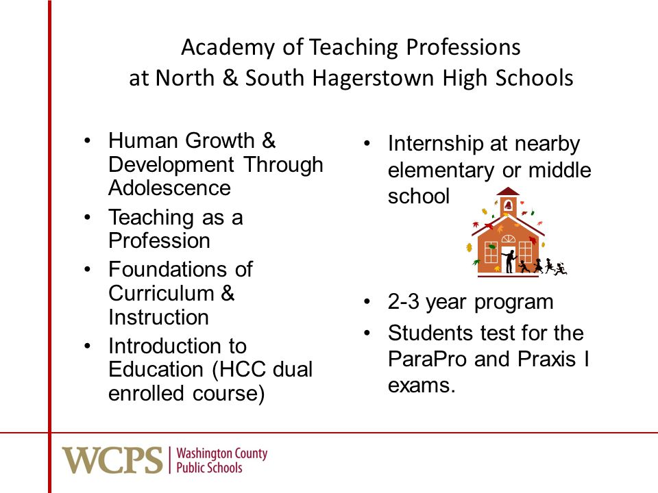 Academy of Teaching Professions at North & South Hagerstown High Schools Human Growth & Development Through Adolescence Teaching as a Profession Foundations of Curriculum & Instruction Introduction to Education (HCC dual enrolled course) Internship at nearby elementary or middle school 2-3 year program Students test for the ParaPro and Praxis I exams.