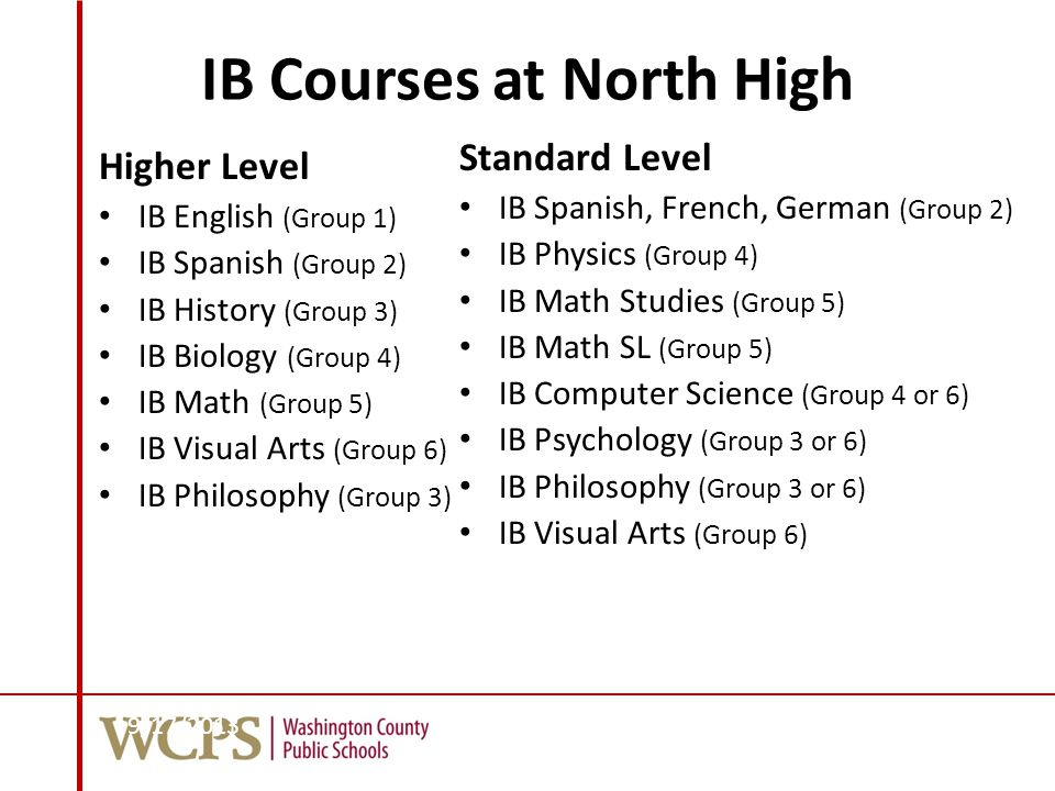 IB Courses at North High Higher Level IB English (Group 1) IB Spanish (Group 2) IB History (Group 3) IB Biology (Group 4) IB Math (Group 5) IB Visual Arts (Group 6) IB Philosophy (Group 3) Standard Level IB Spanish, French, German (Group 2) IB Physics (Group 4) IB Math Studies (Group 5) IB Math SL (Group 5) IB Computer Science (Group 4 or 6) IB Psychology (Group 3 or 6) IB Philosophy (Group 3 or 6) IB Visual Arts (Group 6) 9/17/201378