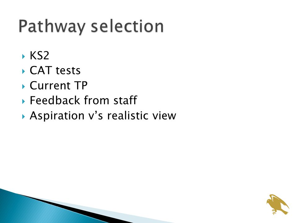  KS2  CAT tests  Current TP  Feedback from staff  Aspiration v's realistic view