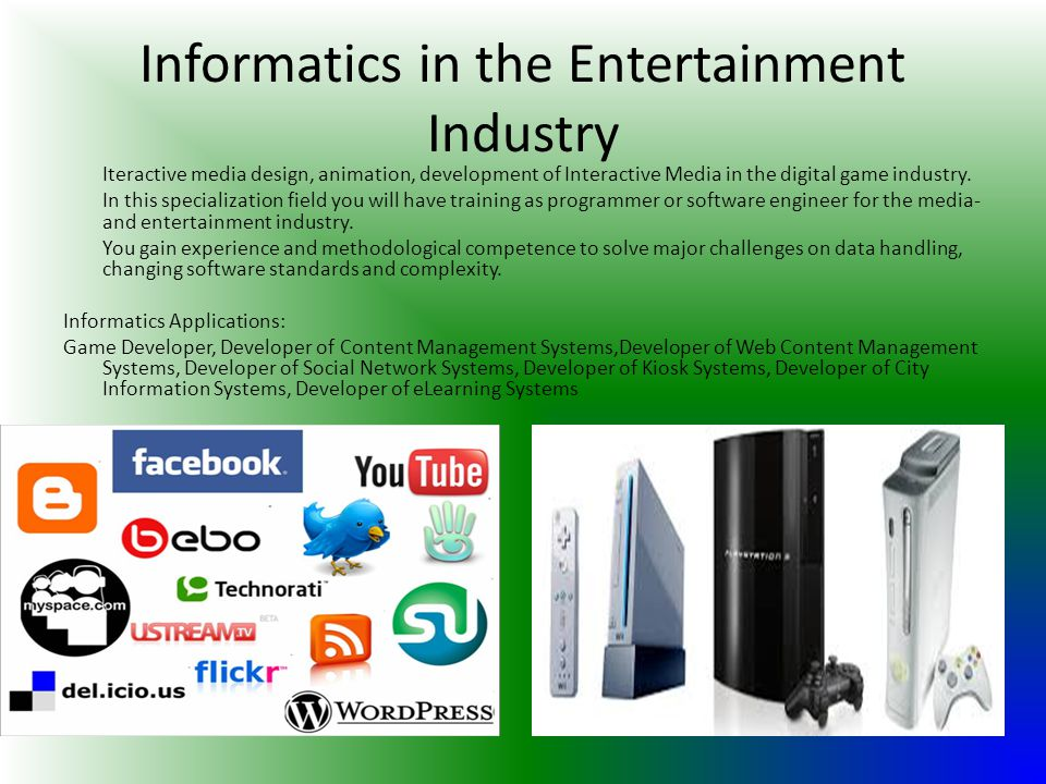 Informatics in the Entertainment Industry Iteractive media design, animation, development of Interactive Media in the digital game industry. In this s