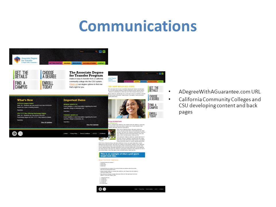 Communications ADegreeWithAGuarantee.com URL California Community Colleges and CSU developing content and back pages