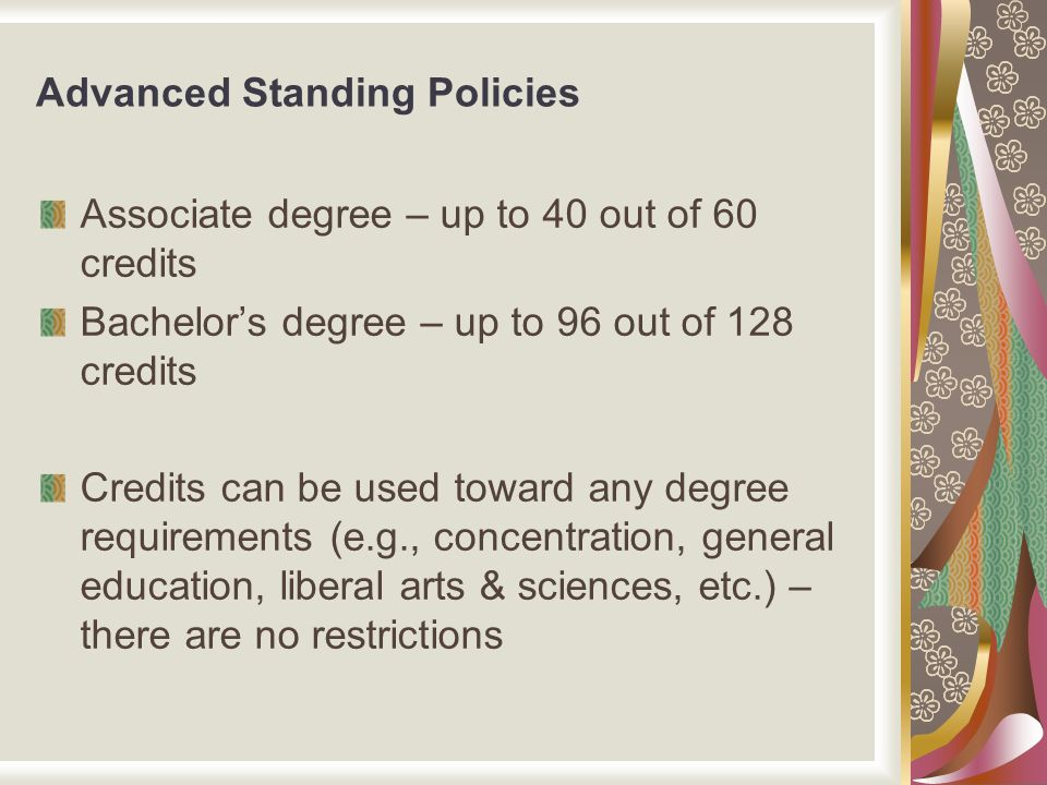 Advanced Standing Policies Associate degree – up to 40 out of 60 credits Bachelor's degree – up to 96 out of 128 credits Credits can be used toward an