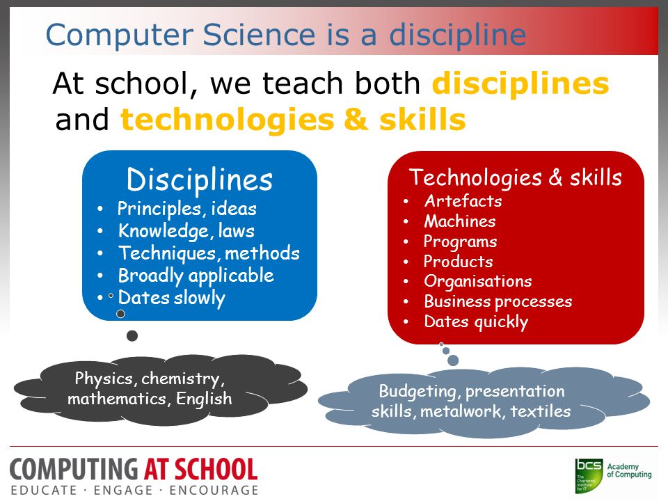 Computer Science is a discipline At school, we teach both disciplines and technologies & skills Disciplines Principles, ideas Knowledge, laws Techniques, methods Broadly applicable Dates slowly Technologies & skills Artefacts Machines Programs Products Organisations Business processes Dates quickly Physics, chemistry, mathematics, English Budgeting, presentation skills, metalwork, textiles