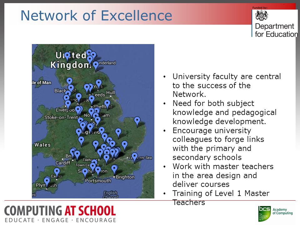 Network of Excellence University faculty are central to the success of the Network.
