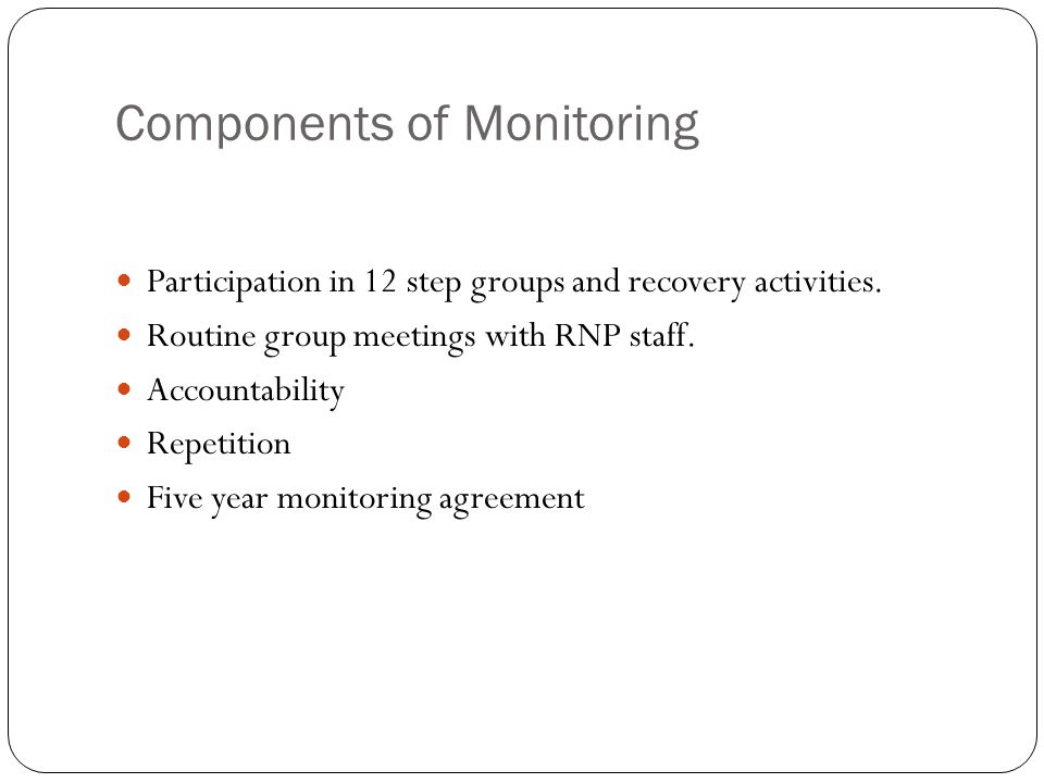 Components of Monitoring Participation in 12 step groups and recovery activities.