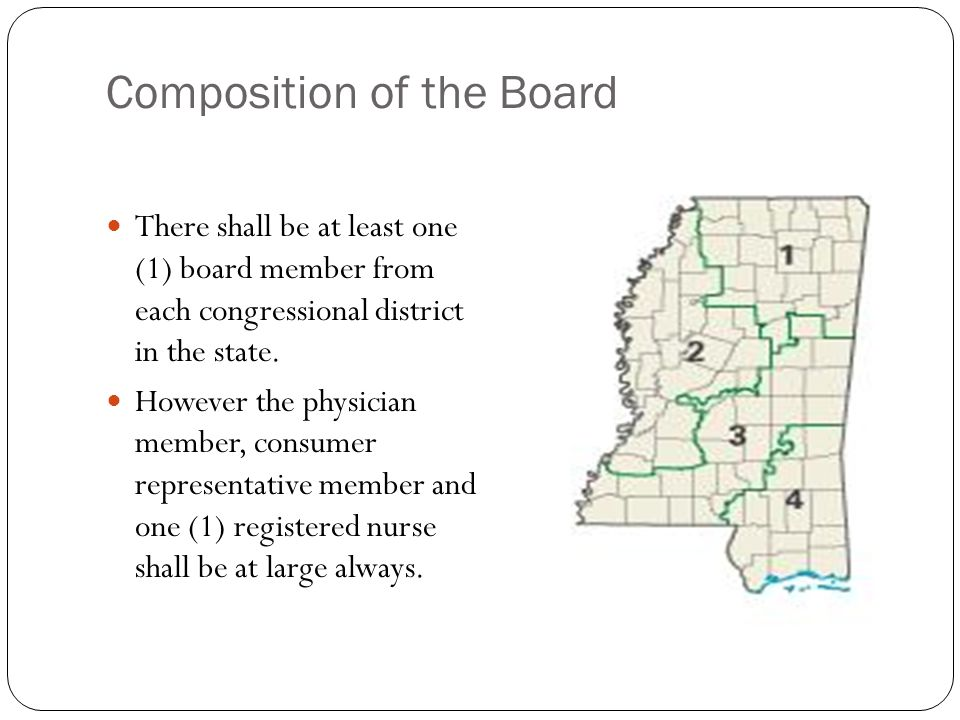 Composition of the Board There shall be at least one (1) board member from each congressional district in the state.