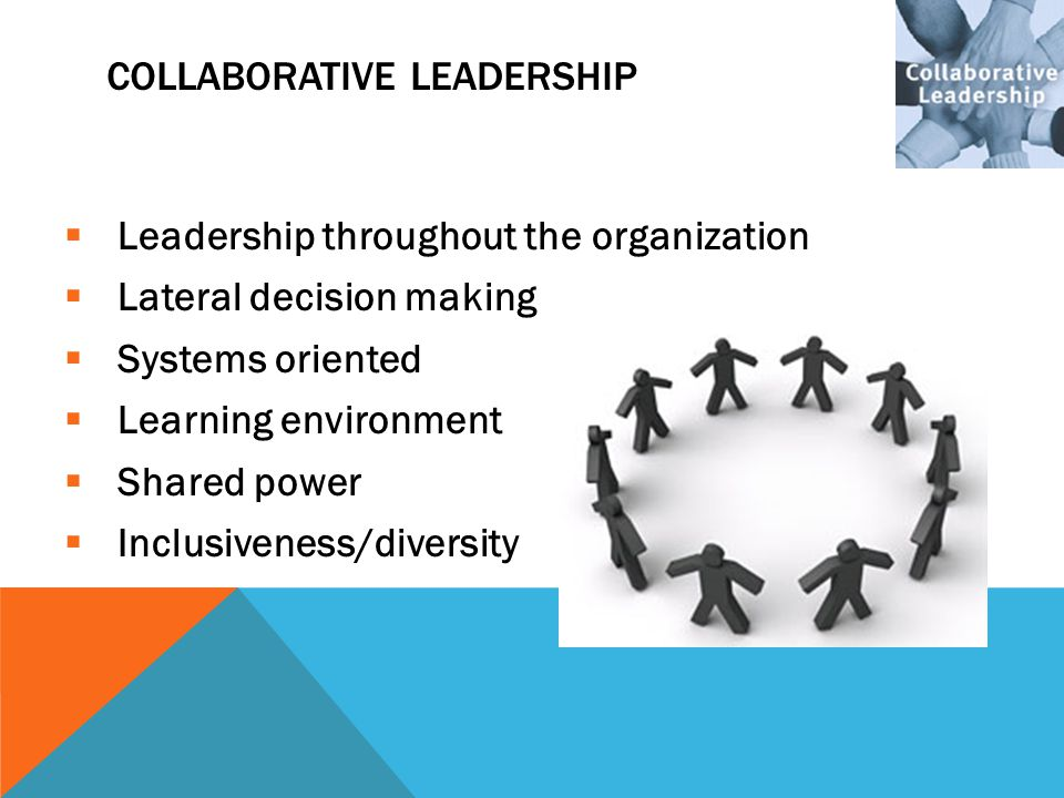 COLLABORATIVE LEADERSHIP  Leadership throughout the organization  Lateral decision making  Systems oriented  Learning environment  Shared power 