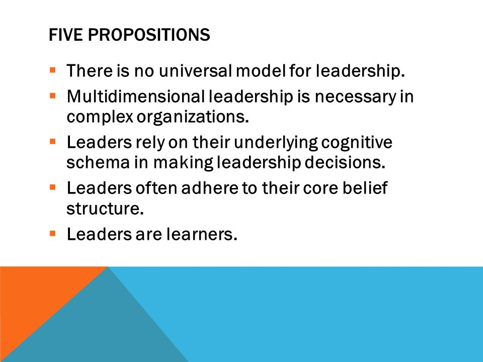 FIVE PROPOSITIONS  There is no universal model for leadership.  Multidimensional leadership is necessary in complex organizations.  Leaders rely on