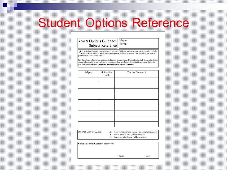 Student Options Reference