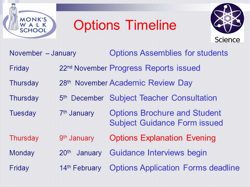 Option Groups Students have one choice of subject from each Group GROUP ONE SUBJECTS GCSE Computing GCSE French GCSE Geography GCSE German GCSE History GCSE Spanish GROUP TWO SUBJECTS GCSE Art GCSE Drama GCSE DT: Food GCSE DT: Graphics GCSE DT: Resistant Materials GCSE DT: Textiles GCSE Geography GCSE History BTEC Award in ICT GCSE Music GROUP THREE SUBJECTS GCSE Art GCSE DT: Food GCSE DT: Graphics GCSE DT: Resistant Materials GCSE French GCSE Geography GCSE History BTEC Award in ICT GCSE Music GCSE PE GCSE RE World Religions GCSE Spanish BTEC Award in Sport GROUP FOUR SUBJECTS GCSE Art BTEC Award in Art & Design GCSE Drama GCSE French GCSE Geography GCSE German GCSE History BTEC Award in ICT BTEC Award in Music GCSE Spanish BTEC Award in Sport BTEC Award in Travel and Tourism