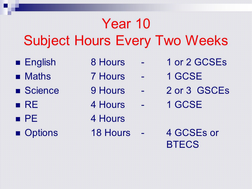 Year 10 Subject Hours Every Two Weeks English8 Hours-1 or 2 GCSEs Maths7 Hours-1 GCSE Science 9 Hours-2 or 3 GSCEs RE4 Hours- 1 GCSE PE4 Hours Options