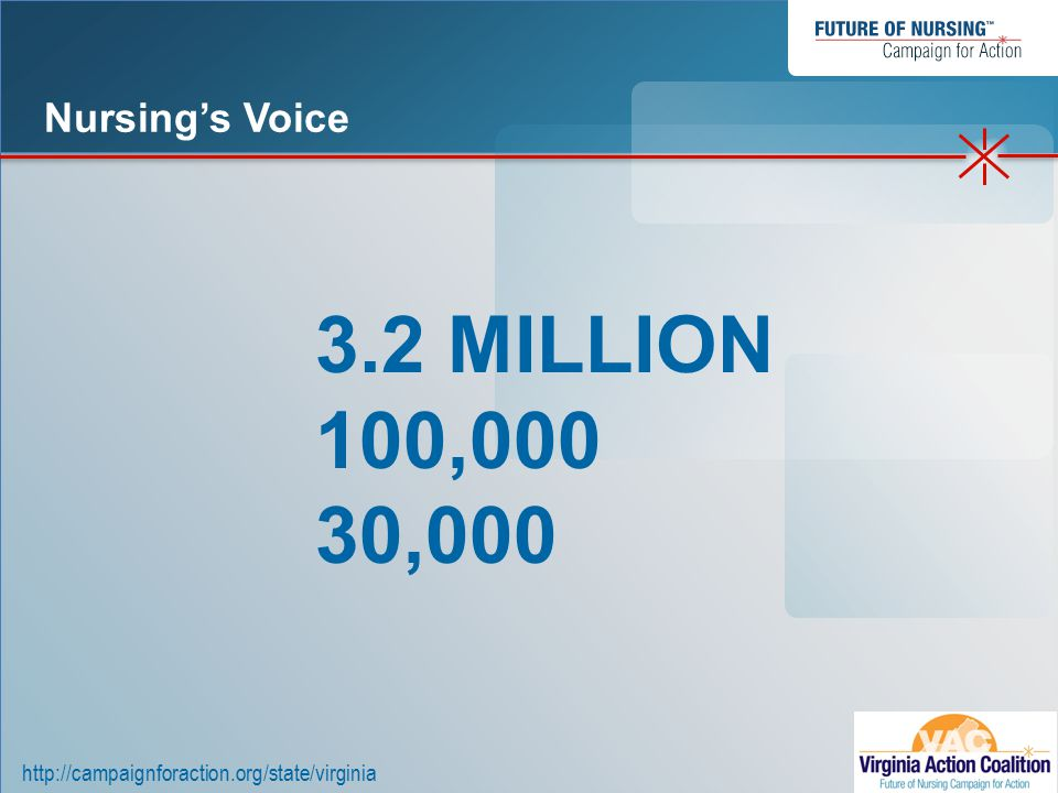 http://campaignforaction.org/state/virginia To review Institute of Medicine, Future of Nursing Report To define the Campaign for Action To define the Virginia Action Coalition To describe the workgroups Objectives