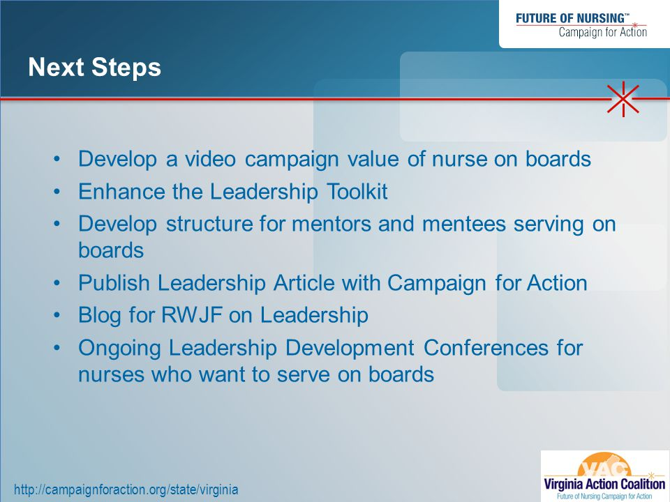 http://campaignforaction.org/state/virginia Next Steps Develop a video campaign value of nurse on boards Enhance the Leadership Toolkit Develop structure for mentors and mentees serving on boards Publish Leadership Article with Campaign for Action Blog for RWJF on Leadership Ongoing Leadership Development Conferences for nurses who want to serve on boards
