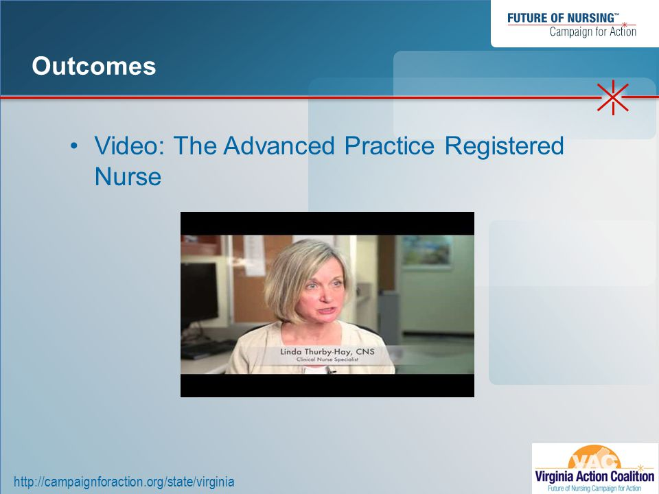 http://campaignforaction.org/state/virginia Video: The Advanced Practice Registered Nurse Outcomes