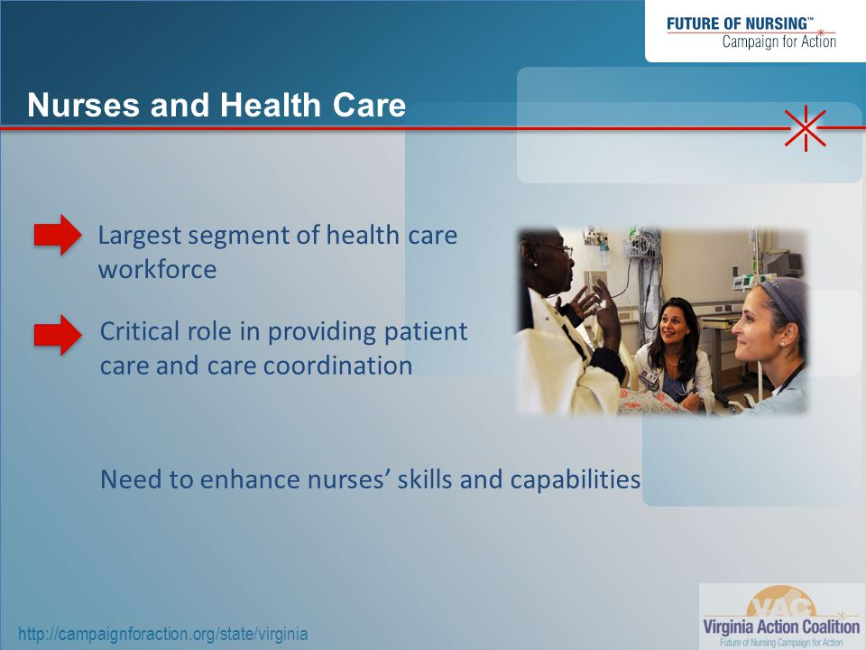 http://campaignforaction.org/state/virginia Largest segment of health care workforce Need to enhance nurses' skills and capabilities Critical role in providing patient care and care coordination Nurses and Health Care