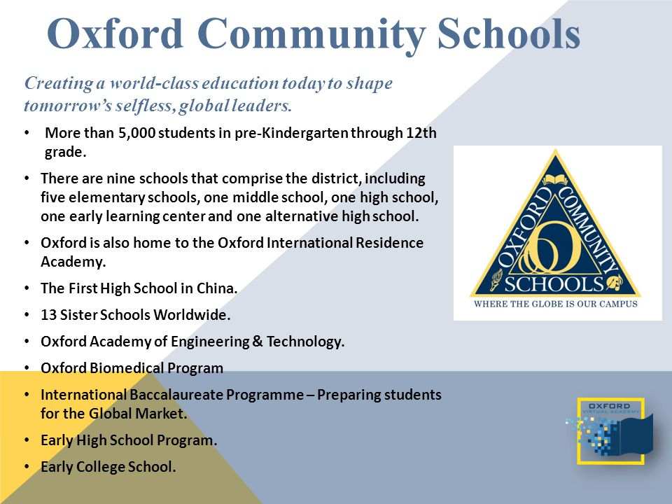Oxford Community Schools Creating a world-class education today to shape tomorrow's selfless, global leaders.