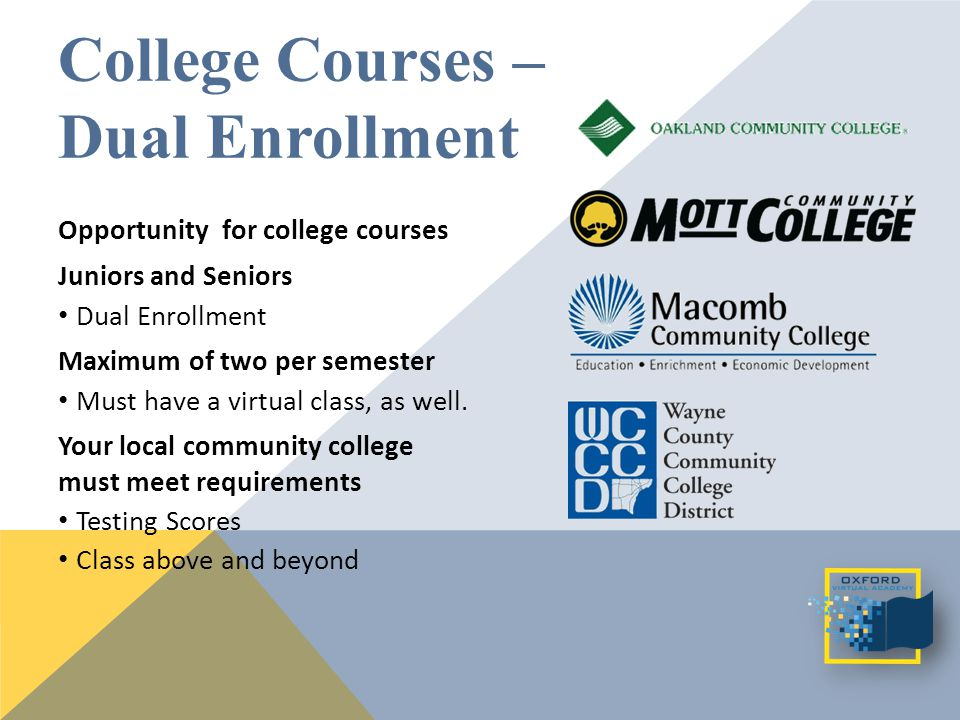 Opportunity for college courses Juniors and Seniors Dual Enrollment Maximum of two per semester Must have a virtual class, as well.