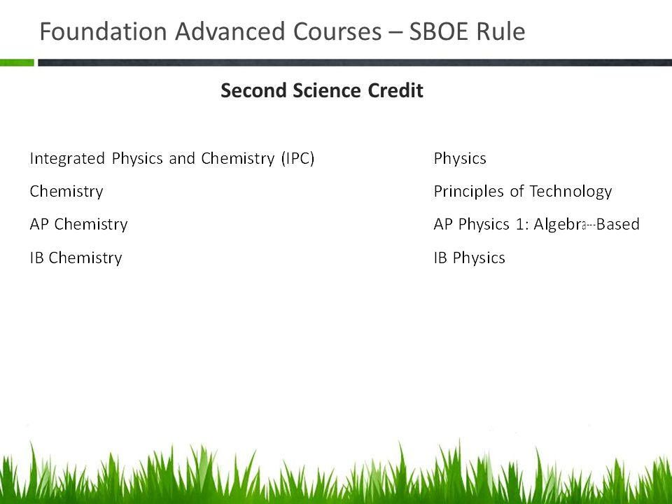 Foundation Advanced Courses – SBOE Rule Second Science Credit