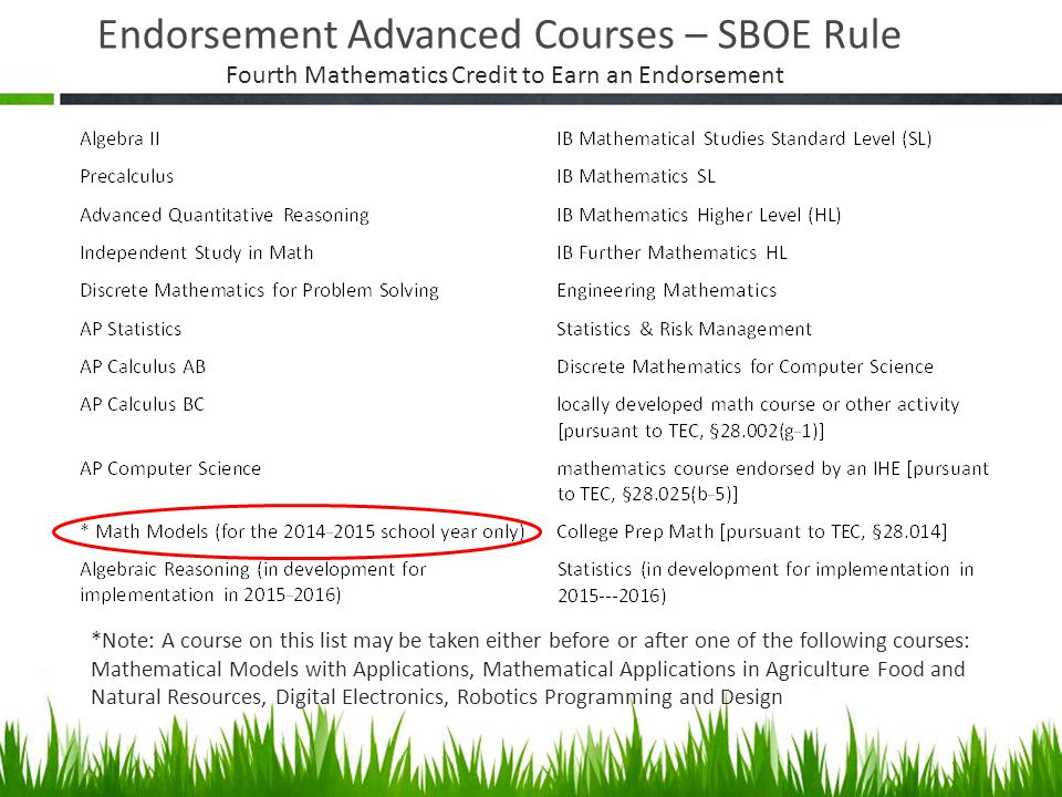 Endorsement Advanced Courses – SBOE Rule *Note: A course on this list may be taken either before or after one of the following courses: Mathematical M