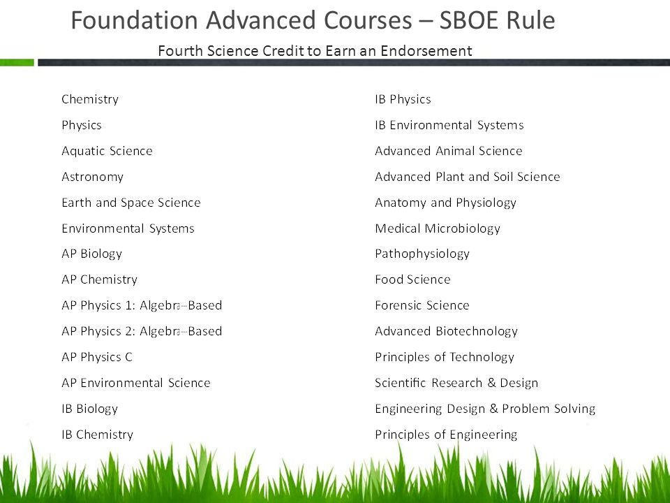 Foundation Advanced Courses – SBOE Rule Fourth Science Credit to Earn an Endorsement